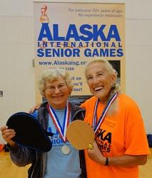Phyllis Hughes (right) with Rachel Thomas